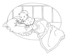 vintage baby clipart, black and white clip art, free baby graphic, baby book illustration, baby's first tooth image, baby in crib sketch