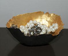 DIY: gold paper mache bowl