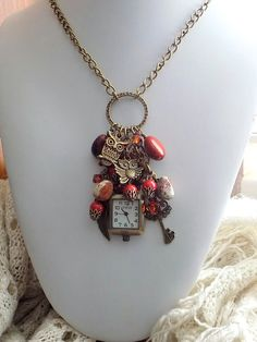 Steampunk Clock Necklace Owl Necklace Charm Red Jasper Cluster Long Necklace Victorian Style Jewelry