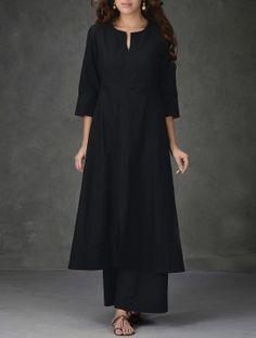 Black A-Line Khadi Cotton Kurta with Tagai Work