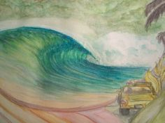 Close up of a WIP second layer  #watercolor #surfliving #surfart #aWaveaDay