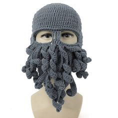 Neevas Unisex Octopus Winter Warm Knitted Wool Ski Face Mask Knit Hat Squid Cap Beanie (Grey) -- Awesome products selected by Anna Churchill