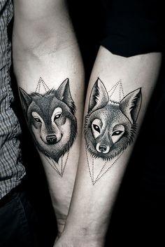 Tattoo lobo e raposa
