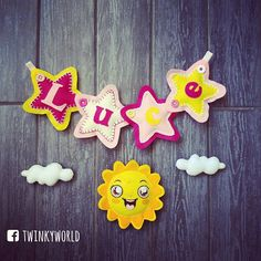 Felt garland -  baby name - Luce with Sun! - name banner