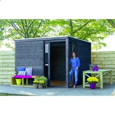 Amazing Shed Plans - Abri de jardin en bois Kubus anthracite - Now You Can Build ANY Shed In A Weekend Even If You've Zero Woodworking Experience! Start building amazing sheds the easier way with a collection of shed plans! Outdoor Life, Outdoor Rooms, Outdoor Decor, Backyard Sheds, Backyard Landscaping, Bin Shed, Modern Shed, Garden Storage Shed, Building A Container Home