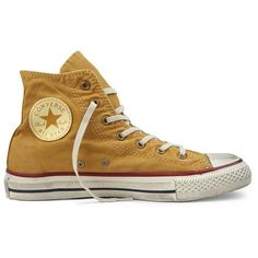 """Converse """"Well Worn"""" Chuck Taylors ❤ liked on Polyvore featuring shoes, sneakers and converse"""
