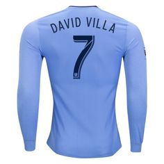 adidas David Silva New York City FC Long Sleeve Authentic Home Jersey 2017