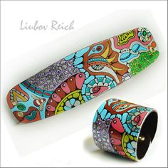 Hand Painted Leather Cuff  Abstract Leather Art Bracelet by Liukas, $55.00