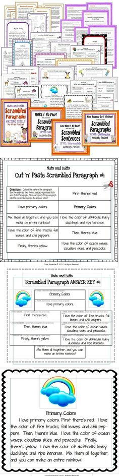 SCRAMBLED PARAGRAPHS 4-in-1 BUNDLE Activity Packets~ Four of my most popular products for 20% off the total price. This bundle contains the following four Scrambled Paragraphs products in a single, compressed file: Introduction, Basic, Intermediate, and Challenging. Fun way for students to learn how to logically organize their writing! #scrambled #paragraph #writing  $