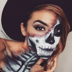 Scary Skeleton Makeup Look for Halloween