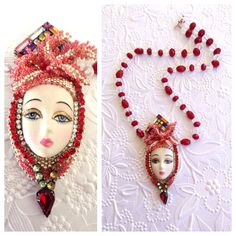 Vegas Girl Necklace .. Feathers coming out of her rhinestone head piece are made with seed beads, rhinestones compass her beautiful face .. red and clear glass beads make up the chain .. Designed By Jann Tague .. Clever Designs https://www.facebook.com/JewelsByJann