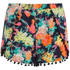 Boohoo Lottie Neon Highlight Pom Pom Trim Shorts ($14) ❤ liked on Polyvore featuring shorts, bottoms, neon shorts and pom pom shorts