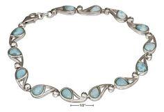 """Sterling Silver 8.5"""" Paisley Link Larimar Bracelet"""