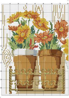 Kanaviçe Saksıda Çiçek Örnekleri (2)