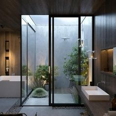 Outdoor Bathrooms 447615650465324735 - Top Trends 2019 in Modern Bathroom Design, Creating Spaces with Zen Spa Vibe Source by Modern Bathroom Design, Bathroom Interior Design, Modern House Design, Decor Interior Design, Modern Luxury Bathroom, Bathroom Designs, Outdoor Bathrooms, Luxury Bathrooms, Outdoor Showers