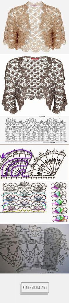 ergahandmade: Crochet Bolero + Diagrams - created on Easy Crochet Shrug, Crochet Bolero, Crochet Shawl Diagram, Crochet Jumper, Crochet Coat, Crochet Jacket, Crochet Cardigan, Crochet Clothes, Crochet Flower Patterns