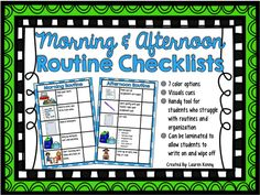 Morning & Afternoon Routine Checklists-dry erase ready, visual reminders