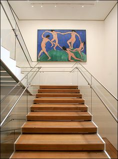 I remember standing on the stairs and thinking how incongruous this painting placement is.