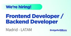 Could you be our next Frontend Developer or Backend Developer? 👋 As we continue introducing our newest team members, we also want to keep sharing our open positions at Bridge. We're looking for two Frontend Developers and two Backend Developers to help us scale our systems to the next level 🚀 You will be contributing to architect, develop, and maintain solutions to help us achieve our Product and Business' objectives. Code on something that has a real impact and purpose! Apply now here for… Team Member, Business Planning, Purpose, Bridge, Scale, Coding, How To Apply, Positivity, How To Plan