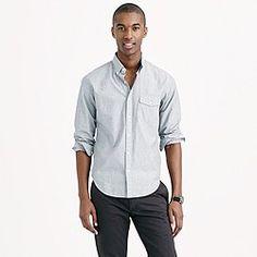 Slim indigo shirt in end-on-end cotton