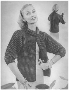West Market Jacket • 1950s Knit Coat Pattern • Vintage 50s Knitting Cardigan Patterns • Retro Bernat Handicrafter • PDF File by TheStarShop on Etsy