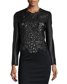 Leather Matelasse Long-Sleeve Jacket, Black