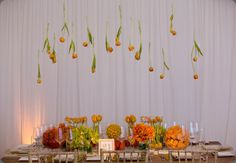 Hanging flowers, Mark's garden, orange tablescape