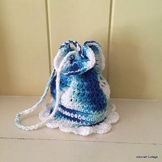 Girl's Drawstring Bag Blue and White Crochet by AshcraftCottage