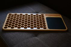 Laptop Desk with leather mouse pad Bee cells by BondArtStudio