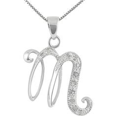 14k white gold alphabet initial m diamond pendant necklace 15 jewel exclusive sterling silver diamond initial m pendant 25 liked on polyvore aloadofball Gallery