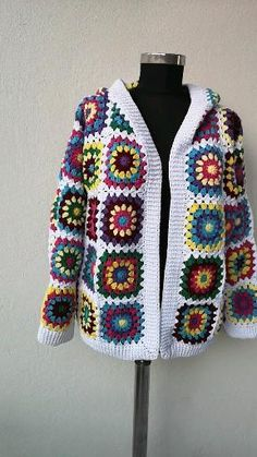 Crochet Jacket Pattern, Crochet Baby Jacket, Crochet Coat, Granny Square Crochet Pattern, Crochet Granny, Crochet Clothes, Cardigans Crochet, Crochet Designs, Crochet Patterns