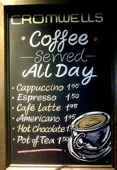 Local Coffee Shop Chalkboard Menu Almost Too Neat