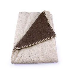 Vintage and Organic Wool Granville Stripe Blanket - Bone Stripe