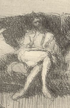 Edouard Vuillard (1868–1940) | Interieur au Canape ou Soir (1930) [detail]