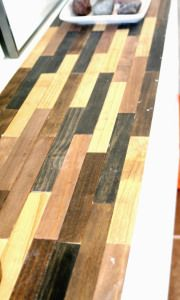 Paint stir sticks + ikea table = cool custom table top