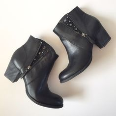 """Nine West Vintage America Booties Vintage look at it's best! Gorgeous black booties / ankle boots from Nine West Vintage America Collection!!! Outside has faux zipper and studded inlay. Inside has zipper to get off and on. Heel is about 2"""". Has leather upper!! Balance is man made. Barely worn and in great condition!! NO TRADES. Nine West Shoes Ankle Boots & Booties"""