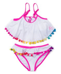 Take a look at this Betsey Johnson Kids White & Red Pom-Pom Bikini - Toddler today!