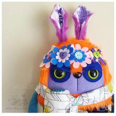 $60 Retro Rabbit Plush Orange and purple by Wickandbandit on Handmade Australia