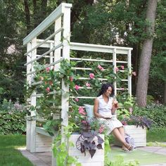 diy: arbor with built-in benches...I'd add one of these to each corner of our front yard to lend some privacy, if I could only but afford it. :( ~Ariel