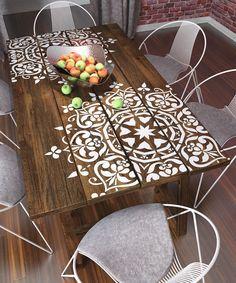 Stenciling a wooden table can add beautiful detail and interest. | Deloufleur Decor & Designs | (618) 985-3355 | http://www.deloufleur.com