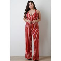 Vertical Striped Sleeveless Wide Leg Jumpsuit ($78) via Polyvore featuring jumpsuits, jump suit, wide leg jumpsuit and sleeveless jumpsuit