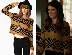 Annie wore this patterned sweater in Strange Brew and if youve been following this blog for a while then you just might remember it from here! MinkPink Intazia Knit - $98 You can buy Annies sweater on sale in black and white here Who: Shenae Grimes as Annie WilsonWhat: Tribal patterned sweater in tan and blackWhere: 90210 episode 5.15