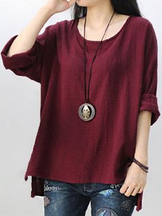 Only US$16.99 , shop Retro Women Scoop Neck Long Sleeve Pure Color Side Slit Baggy Shirts at Banggood.com. Buy fashion Blouses online.