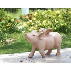 The Hi-Line Gift Ltd. Sitting Pig with Wings Laughing Garden Statue is a friendly gardening partner. This garden statue is finely crafted and painted. Garden Statues, Garden Sculpture, Greek Sea, Happy Pig, Winged Horse, Athena Goddess, Most Beautiful Gardens, Angel Statues, Flying Pig