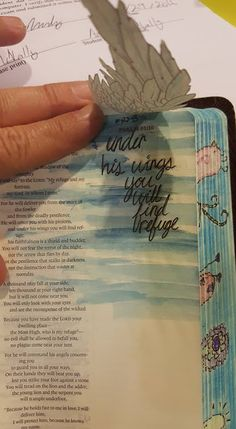 "Psalms Bible Journaling, ""Under his wings you will find refuge"""