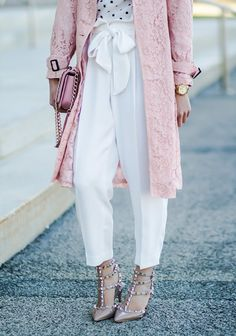 Lace Trench + Paperbag Pants - Elle Blogs