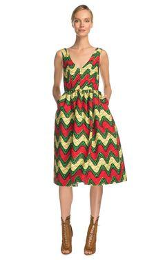 Sleeveless Printed Wax Cotton Party Dress by Stella Jean Now Available on Moda Operandi