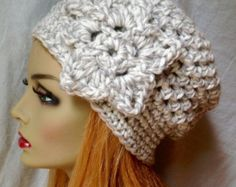 SALE Crochet Womens Hat Newsboy Oatmeal Very por JadeExpressions