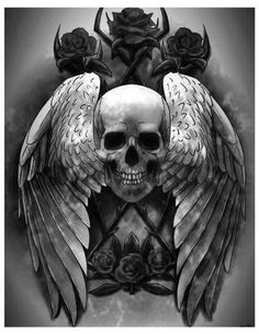 Skull with wings and roses