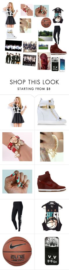 """""""my dream outfit tonight and hanging out with exo, bts, got7, and shinee and going to the park to play basketball"""" by nejlahusetovic61 ❤ liked on Polyvore featuring Forever 21, Giuseppe Zanotti, Miss21 Korea, NIKE and Lauren Conrad"""